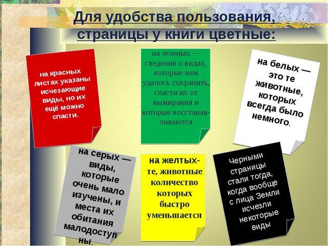 Для удобства пользования, страницы у книги цветные: на красных листах указаны...