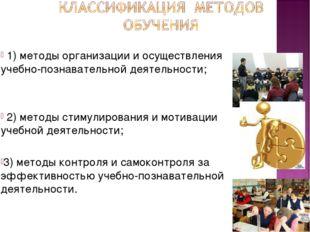 1) методы организации и осуществления учебно-познавательной деятельности; 2)
