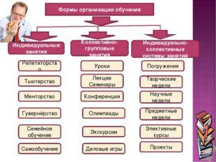 Формы организации обучения Репетиторство Экскурсии Олимпиады Конференции Лекц