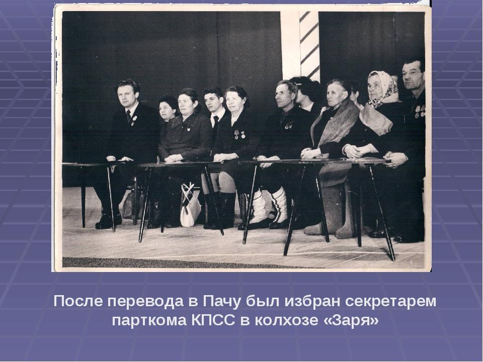 После перевода в Пачу был избран секретарем парткома КПСС в колхозе «Заря»