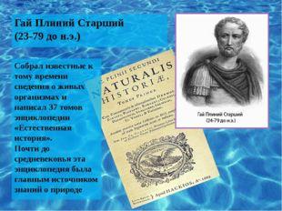 Гай Плиний Старший (23-79 до н.э.) Собрал известные к тому времени сведения о