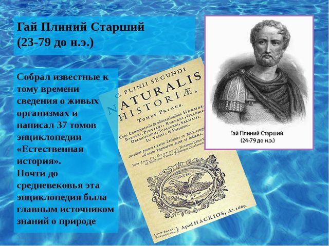 Гай Плиний Старший (23-79 до н.э.) Собрал известные к тому времени сведения о...
