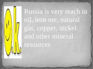 Russia is very reach in oil, iron ore, natural gas, copper, nickel and other