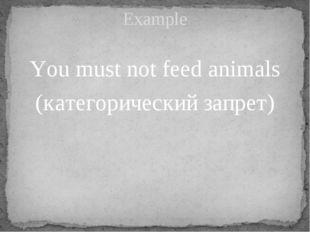 You must not feed animals (категорический запрет) Example