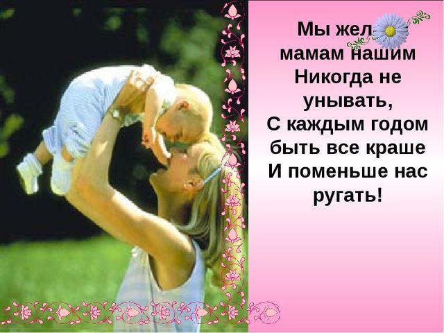 Мы желаем мамам нашим Никогда не унывать, С каждым годом быть все краше И по...