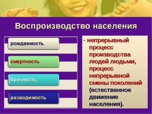 Воспроизводство населения - непрерывный процесс производства людей людьми, пр