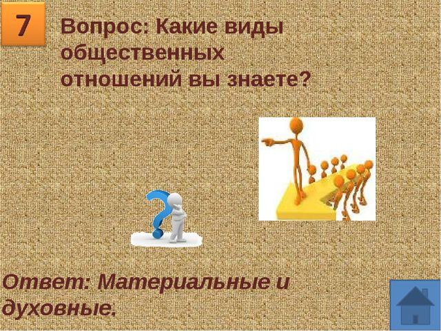 Вопрос: Какие виды общественных отношений вы знаете? Ответ: Материальные и ду...