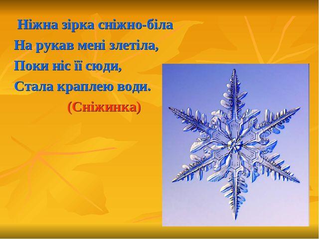 Ніжна зірка сніжно-біла На рукав мені злетіла, Поки ніс її сюди, Стала крапл...