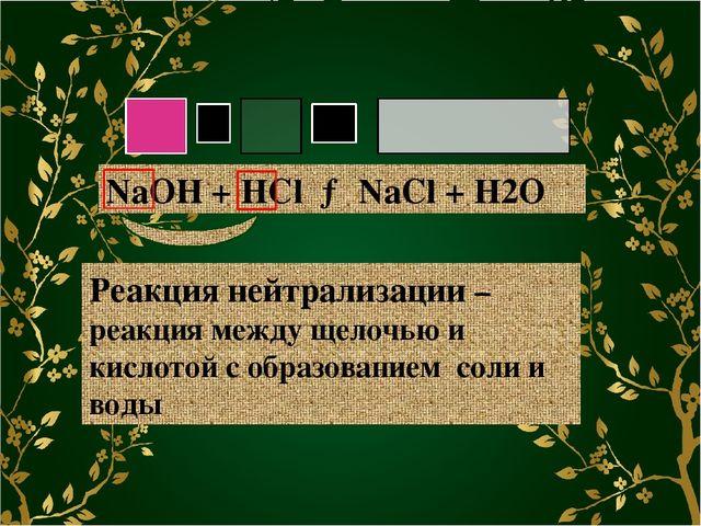 NaOH + HCl → NaCl + H2O Реакция нейтрализации – реакция между щелочью и кисл...