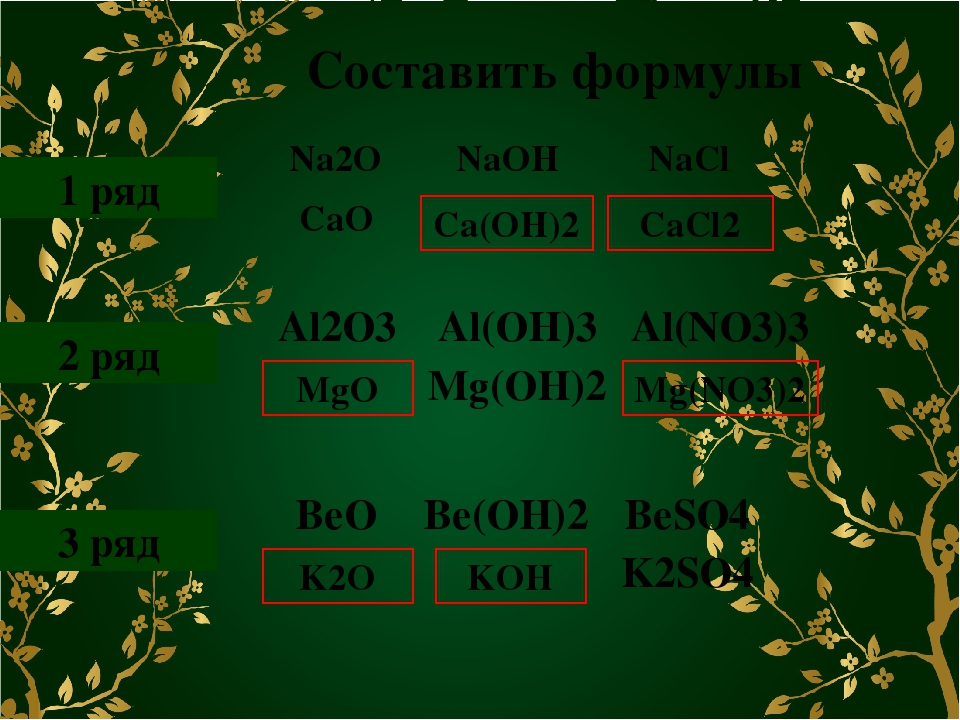 Составить формулы 1 ряд 2 ряд 3 ряд Ca(OH)2 CaCl2 MgO Mg(NO3)2 K2O KOH Na2O N...