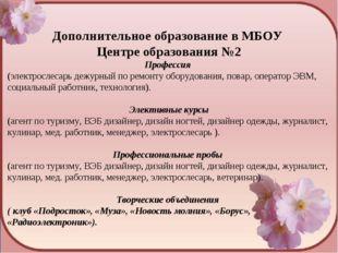 Дополнительное образование в МБОУ Центре образования №2 Профессия (электросл