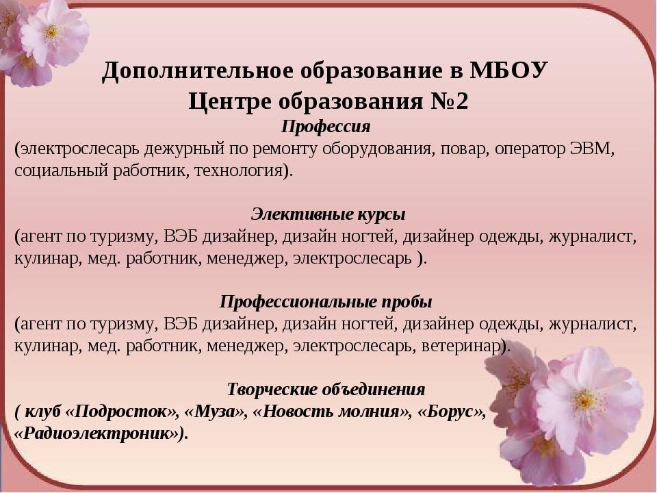 Дополнительное образование в МБОУ Центре образования №2 Профессия (электросл...