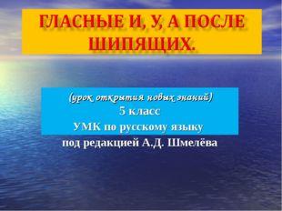 (урок открытия новых знаний) 5 класс УМК по русскому языку под редакцией А.Д.