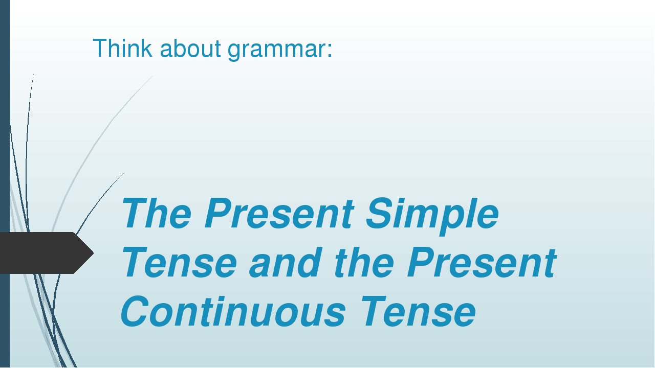 Think about grammar: The Present Simple Tense and the Present Continuous Tense