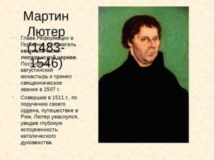 Мартин Лютер (1483-1546) Глава Реформации в Германии, основатель евангелическ