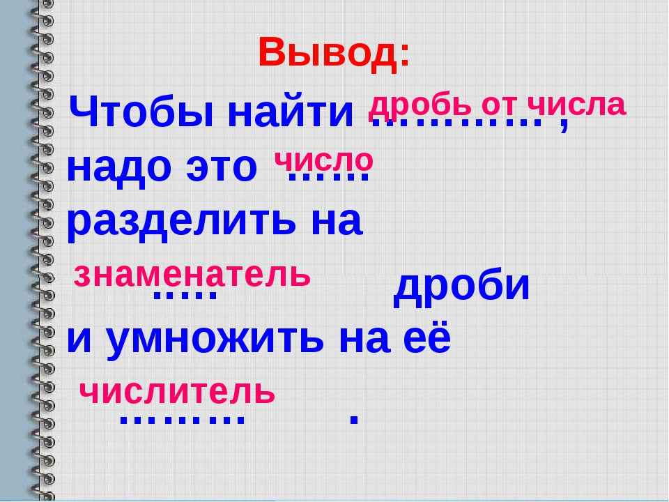 Вывод: Чтобы найти ………… , надо это …… разделить на ..… дроби и умножить на eё...