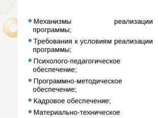 Механизмы реализации программы; Требования к условиям реализации программы;