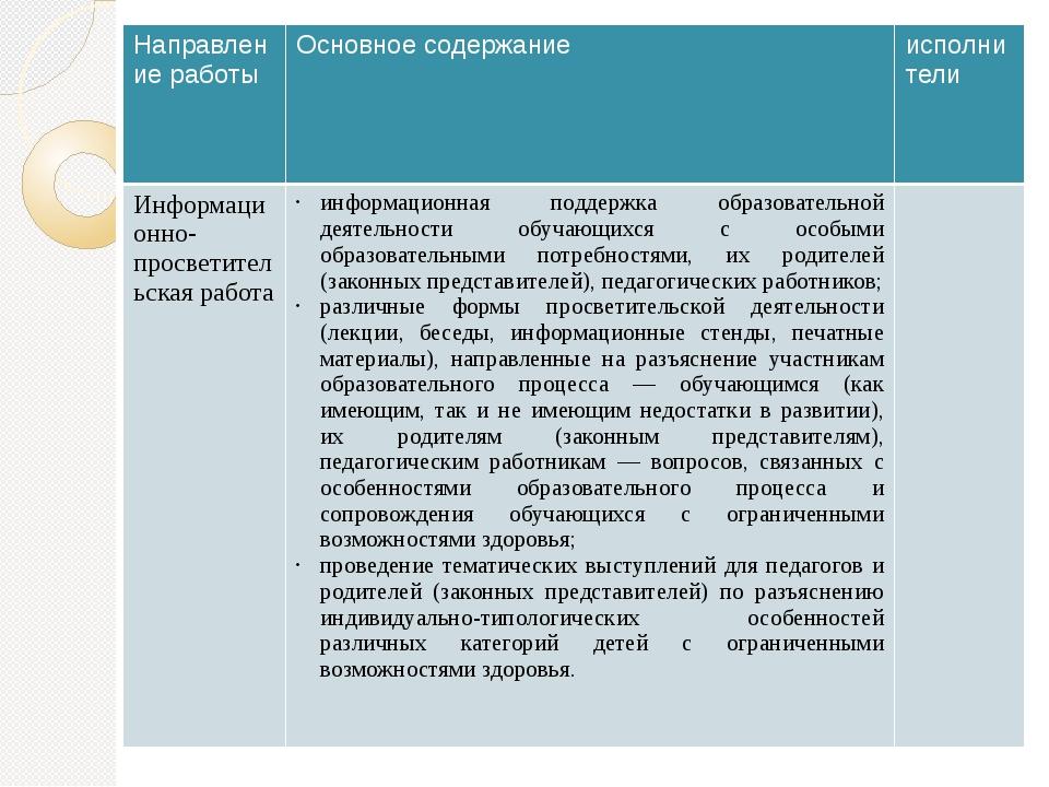 Направление работы Основное содержание исполнители Информационно-просветител...