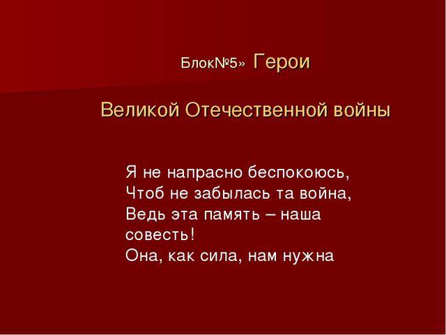 Блок№5» Герои Великой Отечественной войны Я не напрасно беспокоюсь, Чтоб не з...