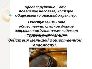 Правонарушение – это поведение человека, носящее общественно опасный характер