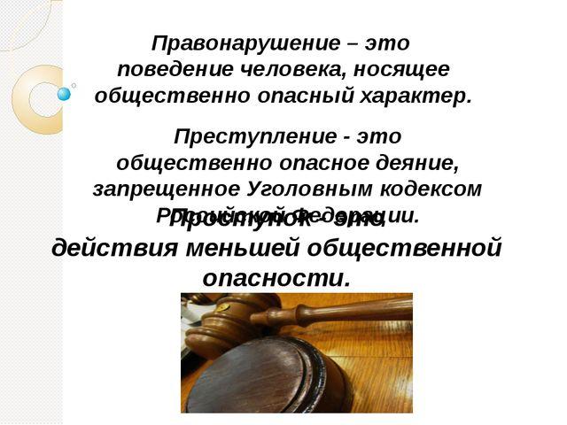 Правонарушение – это поведение человека, носящее общественно опасный характер...