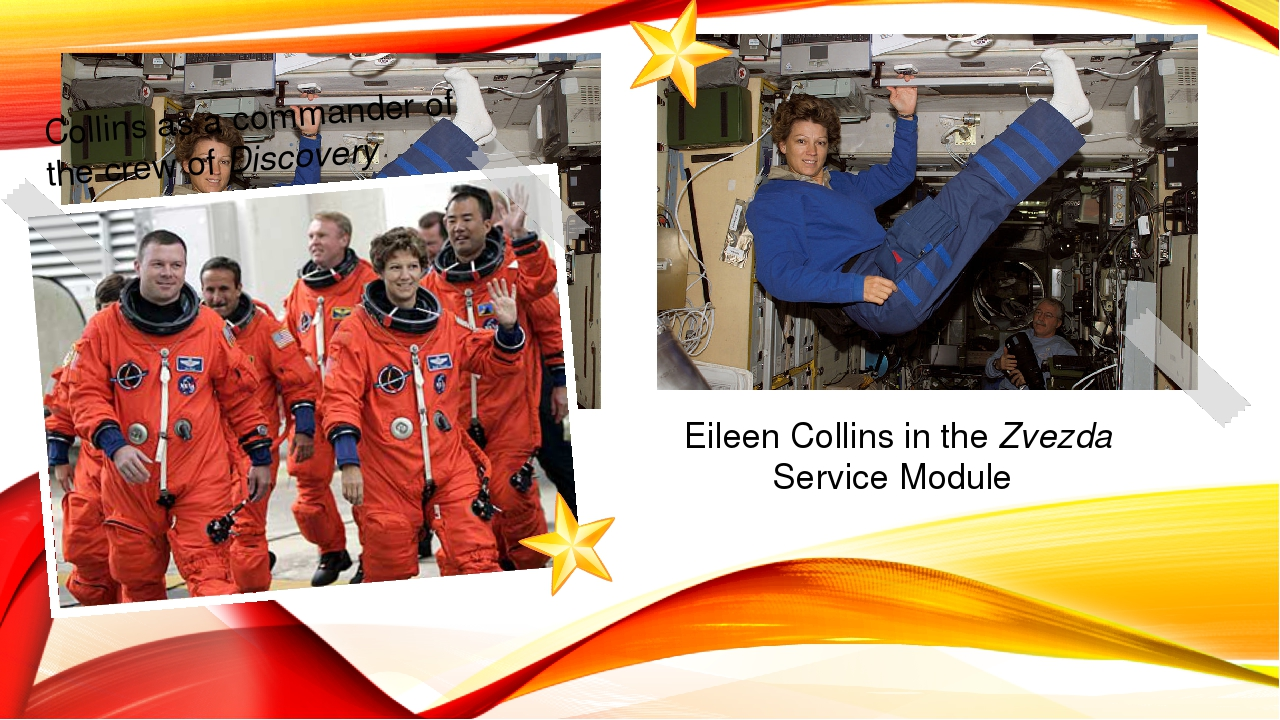 Eileen Collins in the Zvezda Service Module Collins as a commander of the cre...