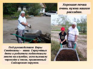 Хорошая почва очень нужна нашим рассадам. Под руководством Веры Семёновны – м