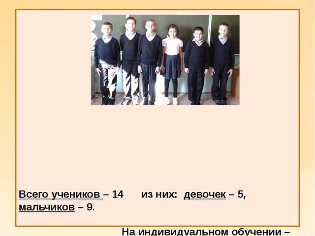 Всего учеников – 14 из них: девочек – 5, мальчиков – 9. На индивидуальном об...