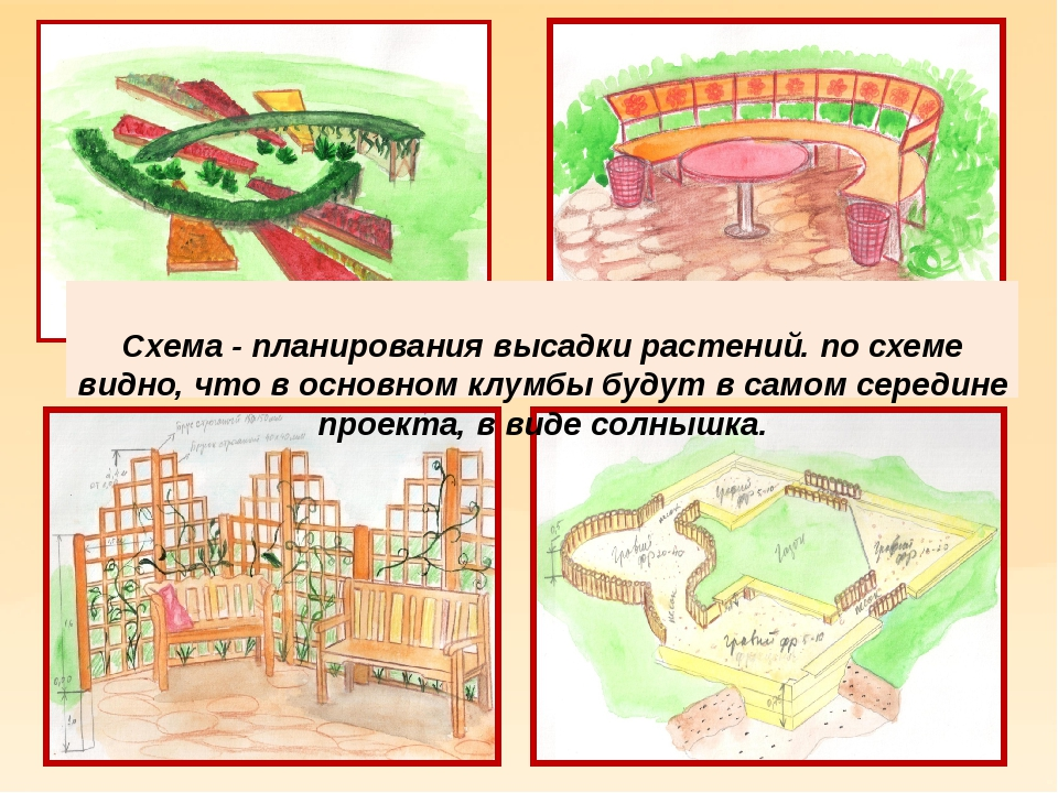 Схема - планирования высадки растений. по схеме видно, что в основном клумбы...