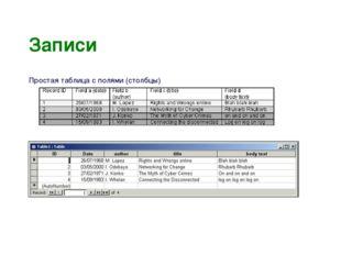 Записи Простая таблица с полями (столбцы) и записями (ряды): И как часть табл