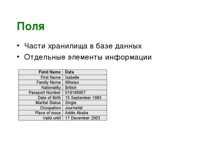 Поля Части хранилища в базе данных Отдельные элементы информации
