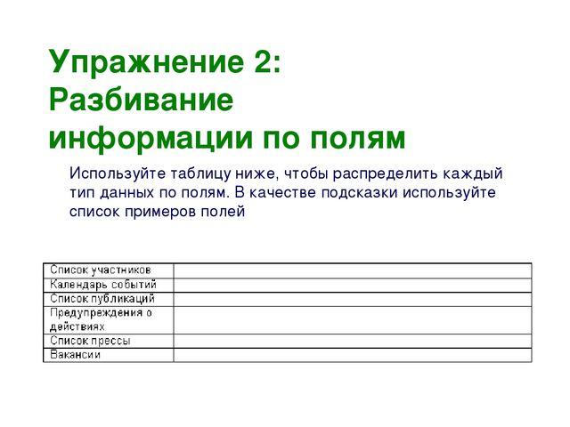 Упражнение 2: Разбивание информации по полям Используйте таблицу ниже, чтобы...