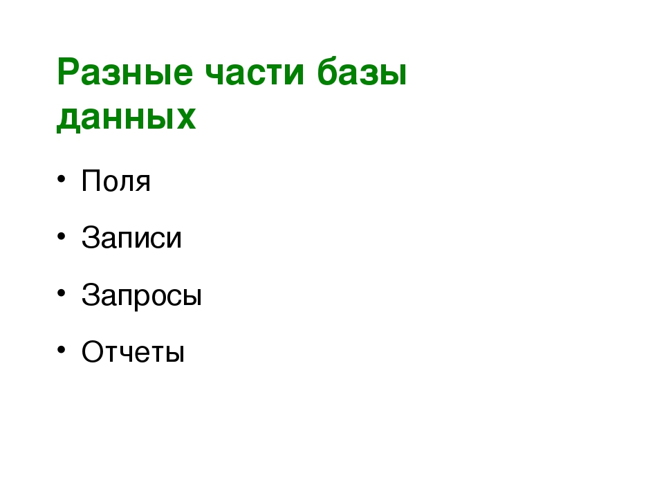 Разные части базы данных Поля Записи Запросы Отчеты