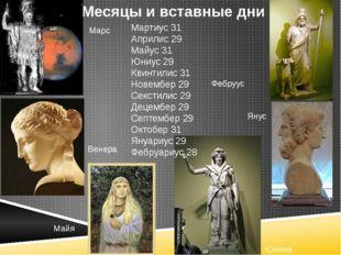 Мартиус 31 Априлис 29 Майус 31 Юниус 29 Квинтилис 31 Новембер 29 Секстилис 2