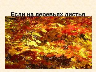 Если на деревьях листья пожелтели,