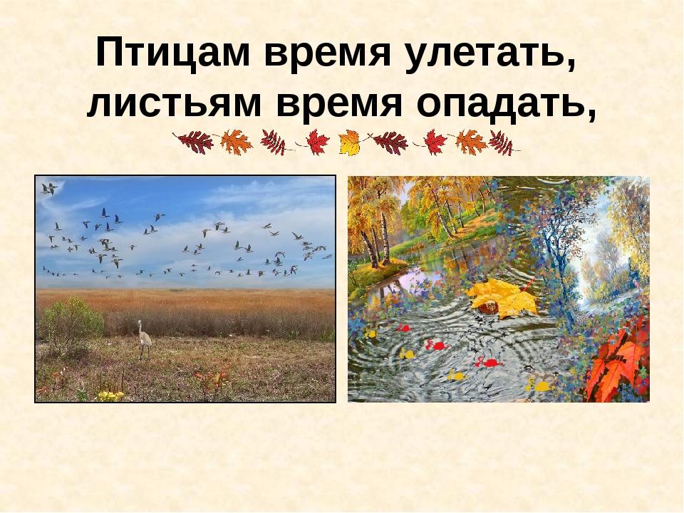 Птицам время улетать, листьям время опадать,