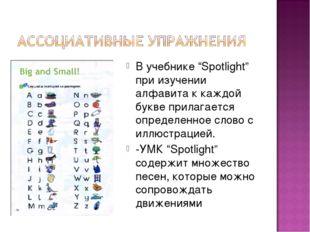 """В учебнике """"Spotlight"""" при изучении алфавита к каждой букве прилагается опред"""