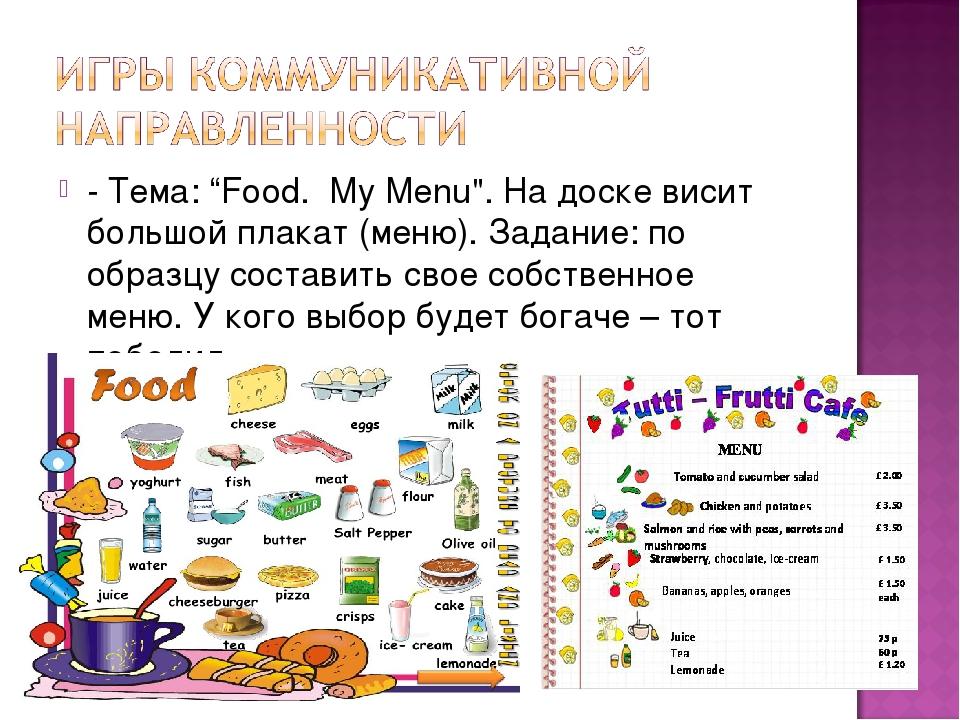 """- Тема: """"Food. My Menu"""". На доске висит большой плакат (меню). Задание: по об..."""