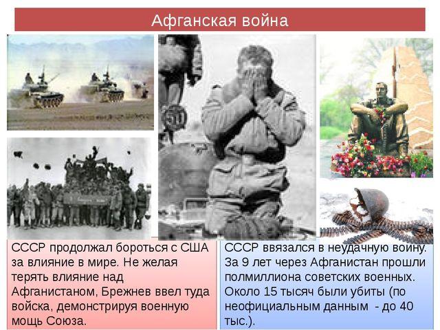 Афганская война СССР продолжал бороться с США за влияние в мире. Не желая тер...