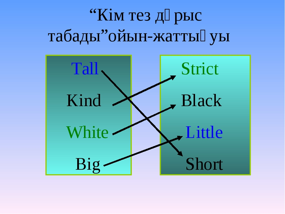 """""""Кім тез дұрыс табады""""ойын-жаттығуы Tall Kind White Big Strict Black Little..."""