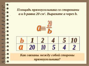 Площадь прямоугольника со сторонами a и b равна 20 см². Выразите a через b. К