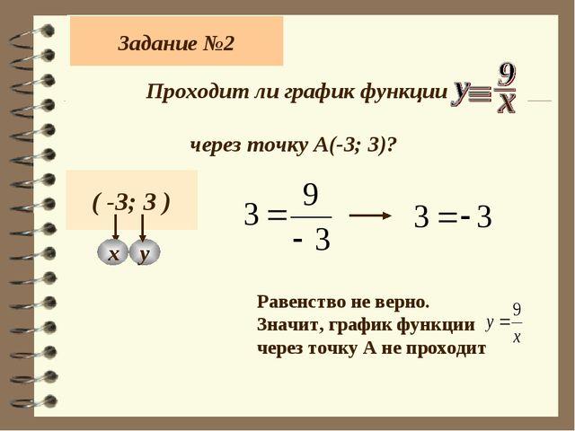 Задание №2 Проходит ли график функции через точку А(-3; 3)? ( -3; 3 ) х у Рав...