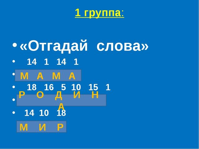 1 группа: «Отгадайслова» 14 1 14 1 18 16 5 10 15 1 14 10 18 М А М А Р О Д И...