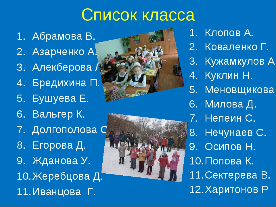 Список класса Абрамова В. Азарченко А. Алекберова Л. Бредихина П. Бушуева Е....