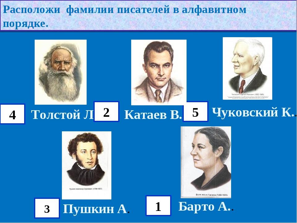 Расположи фамилии писателей в алфавитном порядке. Толстой Л. Катаев В.. Чуков...