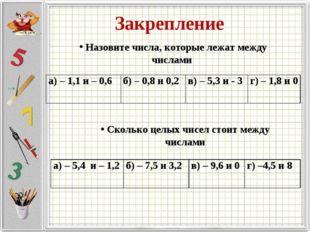 Закрепление Назовите числа, которые лежат между числами Сколько целых чисел с