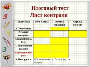 Итоговый тест Лист контроля План урокаМоя оценкаОценка товарищаОценка учит