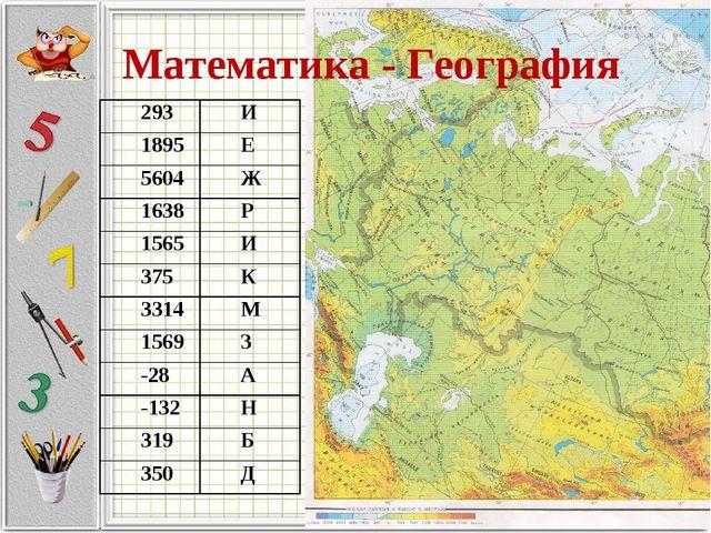 Математика - География 293И 1895Е 5604Ж 1638Р 1565И 375К 3314М 1569З...