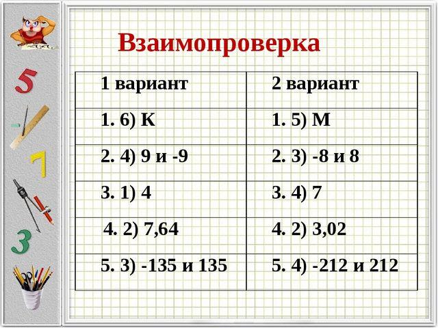 Взаимопроверка 1 вариант2 вариант 1. 6) К1. 5) М 2. 4) 9 и -92. 3) -8 и 8...