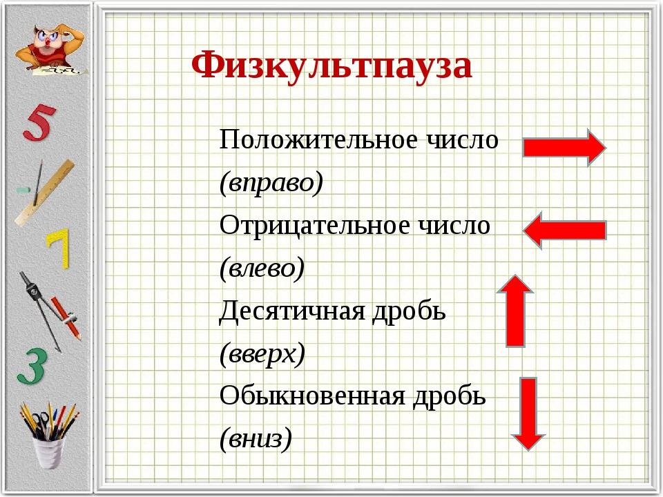 Физкультпауза Положительное число (вправо) Отрицательное число (влево) Десяти...